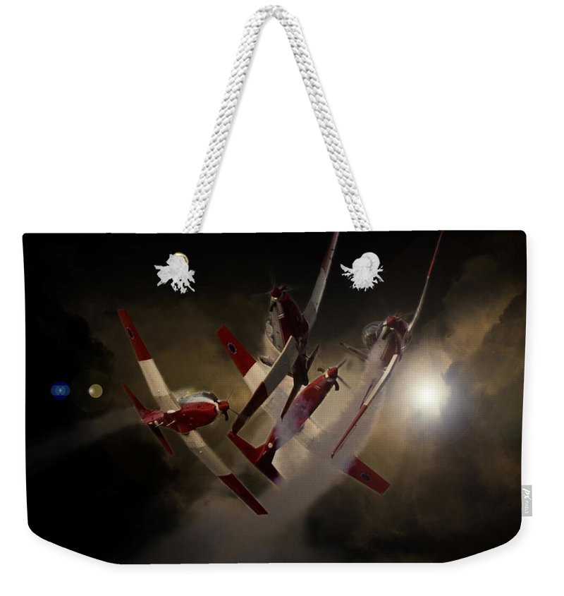 Pilatus Pc7 Weekender Tote Bag featuring the photograph Cross Over by Paul Job