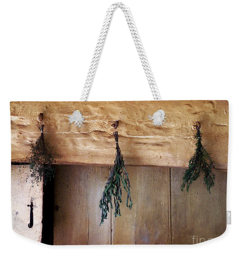 Herbs Weekender Tote Bag featuring the painting Crossbeam With Herbs Drying by RC DeWinter