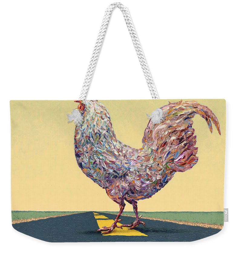 Chicken Weekender Tote Bag featuring the painting Crossing Chicken by James W Johnson