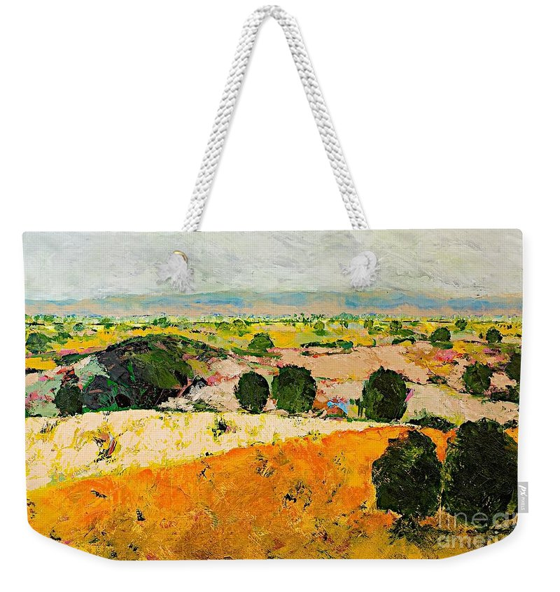 Landscape Weekender Tote Bag featuring the painting Crossing Paradise by Allan P Friedlander