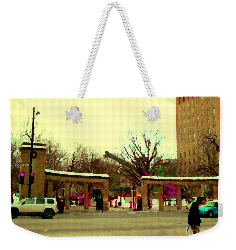 Mcgill University Weekender Tote Bag featuring the painting Crossing Sherbrooke Street View Of Mcgill Campus Winter Walk Montreal City Scenes Carole Spandau by Carole Spandau