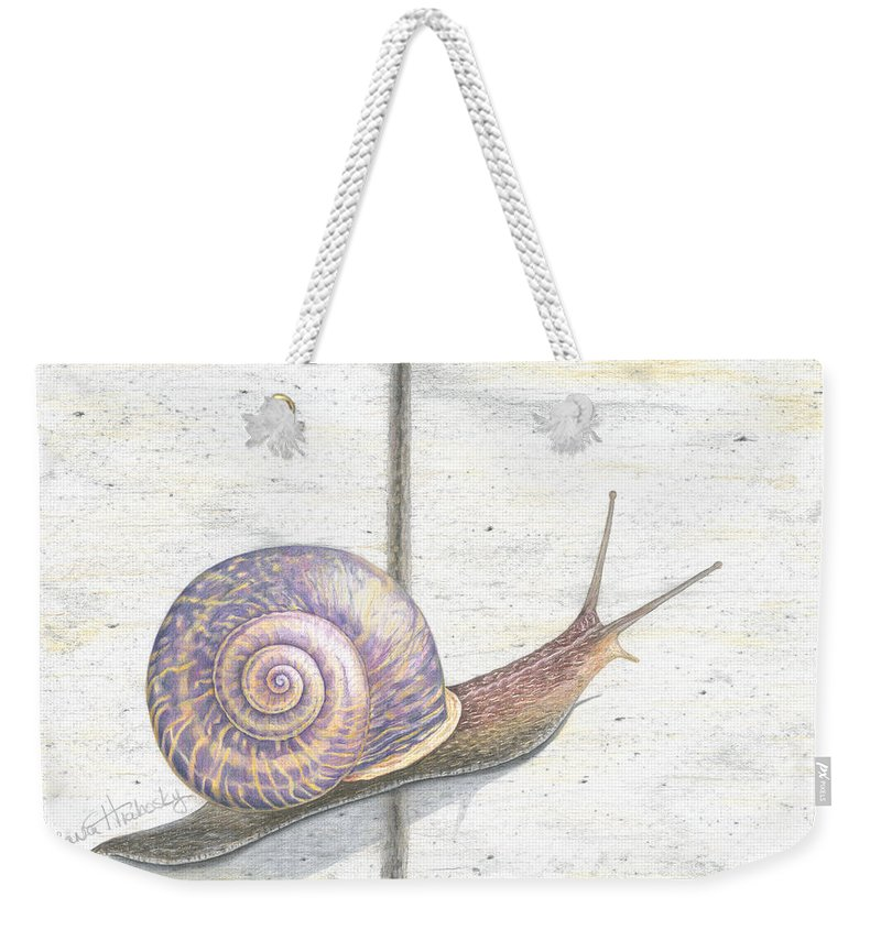 Snail Weekender Tote Bag featuring the drawing Crossing The Finish Line by Diana Hrabosky