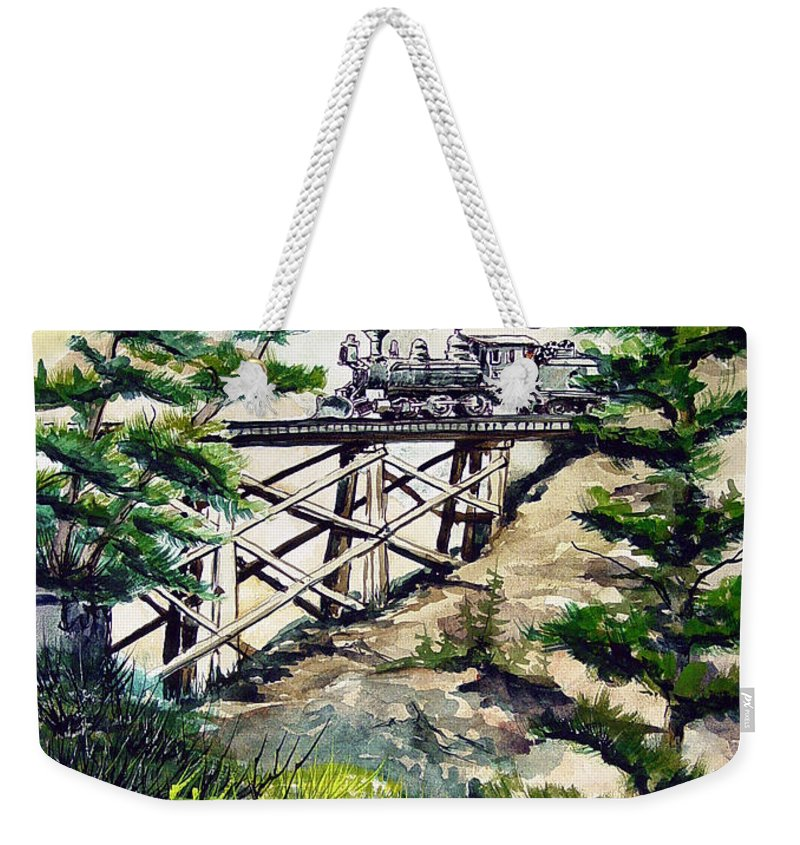 Train Weekender Tote Bag featuring the painting Crossing The Gap by Sam Sidders