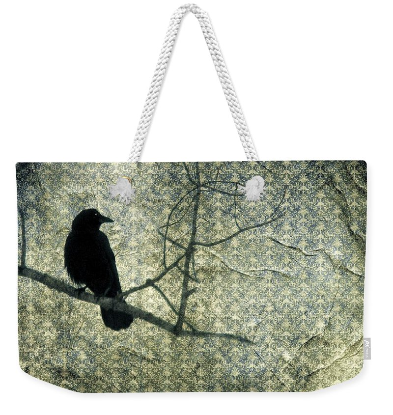 Old Green Damask Collage Weekender Tote Bag featuring the digital art Crow Knows by Gothicrow Images