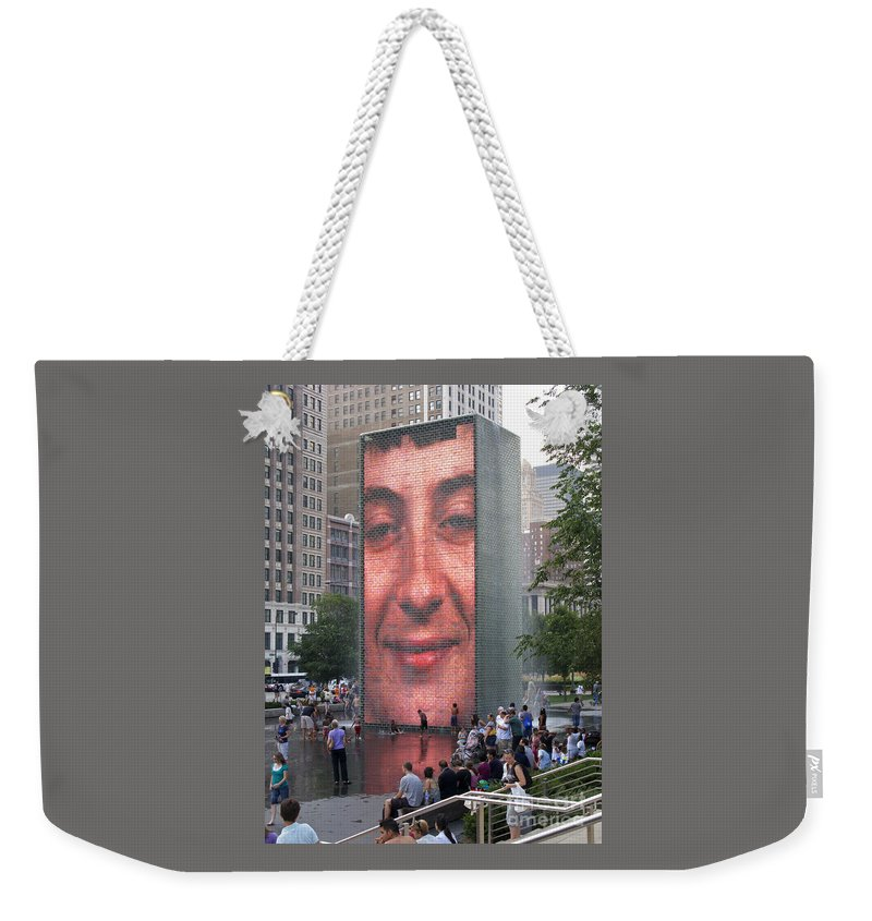Chicago Weekender Tote Bag featuring the photograph Crowd Watching by Ann Horn