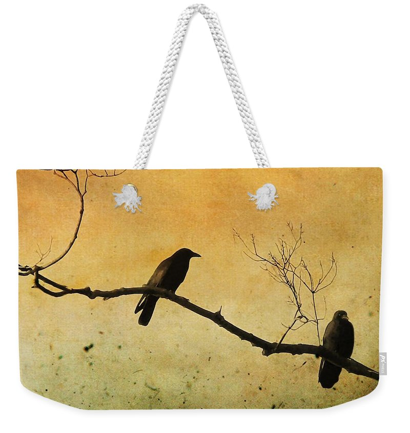 Two Crows Weekender Tote Bag featuring the photograph Crowded Branch by Gothicrow Images