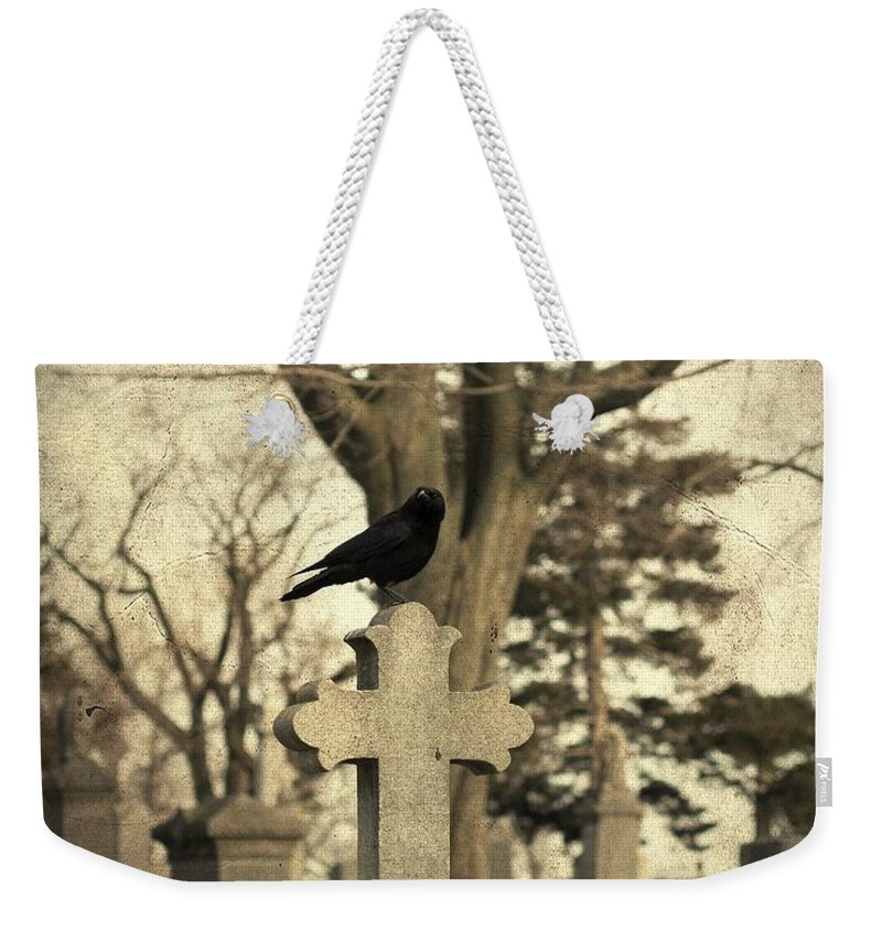 Old Graveyard Crow Weekender Tote Bag featuring the photograph Crow's Cross by Gothicrow Images