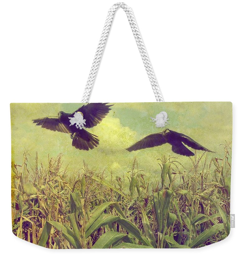 Crows Weekender Tote Bag featuring the photograph Crows Of The Corn by Gothicrow Images