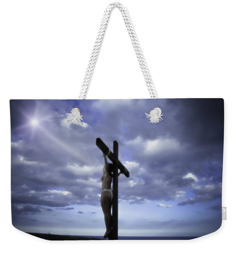 Landscape Weekender Tote Bag featuring the photograph Crucifix In The Light by Ramon Martinez