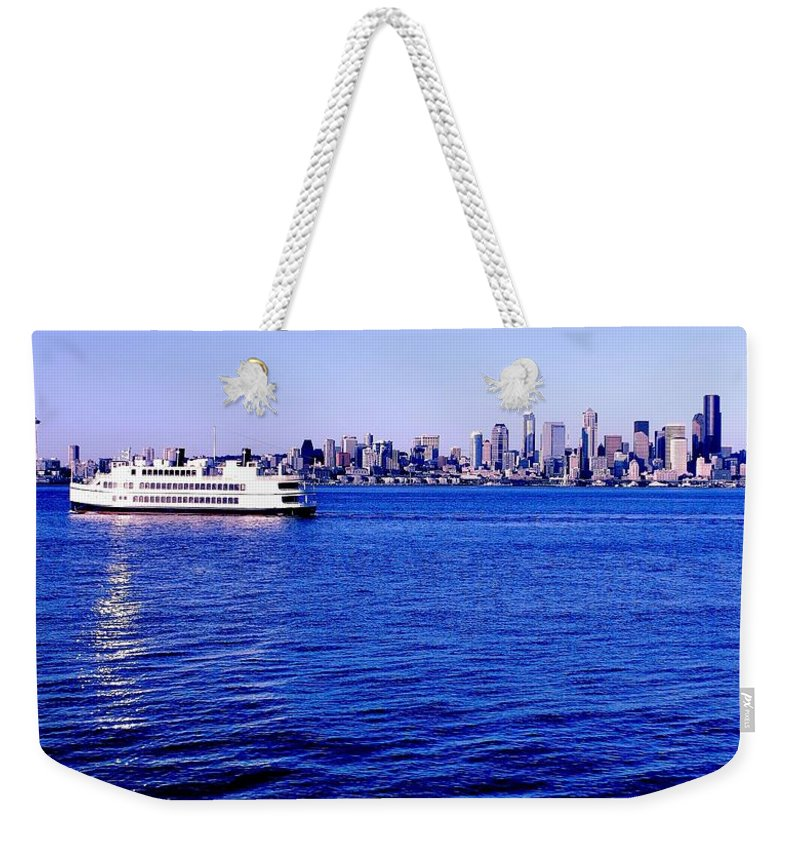 Seattle Weekender Tote Bag featuring the photograph Cruising Elliott Bay by Benjamin Yeager