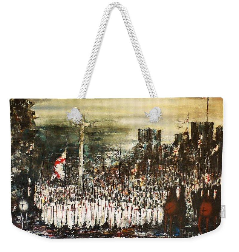 Crusade Weekender Tote Bag featuring the painting Crusade by Kaye Miller-Dewing