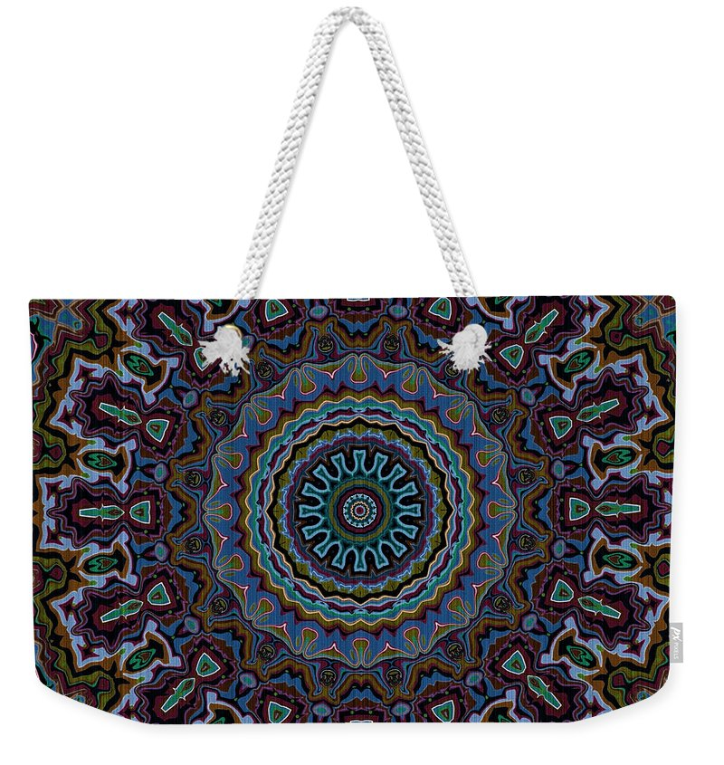 Mandala Weekender Tote Bag featuring the digital art Crushed Blue Velvet Kaleidoscope by Joy McKenzie