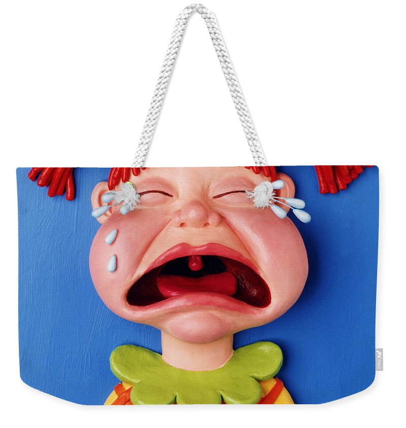 Girl Weekender Tote Bag featuring the mixed media Crying Girl by Amy Vangsgard