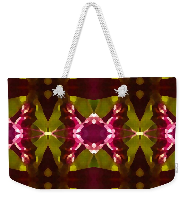Abstract Weekender Tote Bag featuring the painting Crystal Butterfly Pattern by Amy Vangsgard