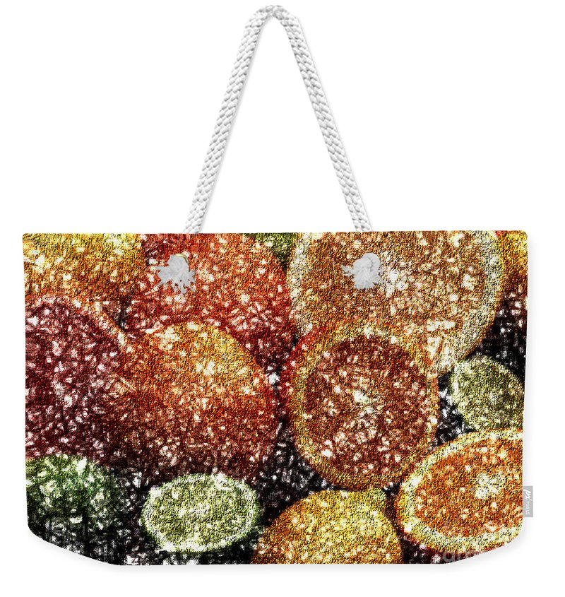 Grapefruit Abstract Weekender Tote Bag featuring the digital art Crystal Grapefruit by Yael VanGruber
