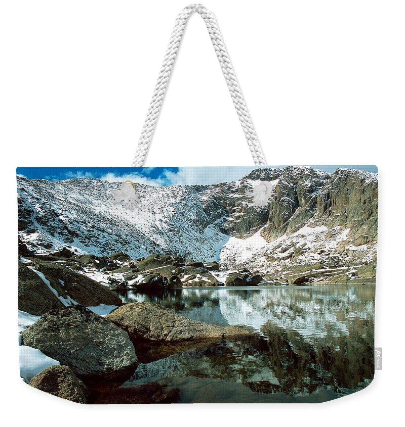 Landscape Weekender Tote Bag featuring the photograph Crystal Lake by Eric Glaser