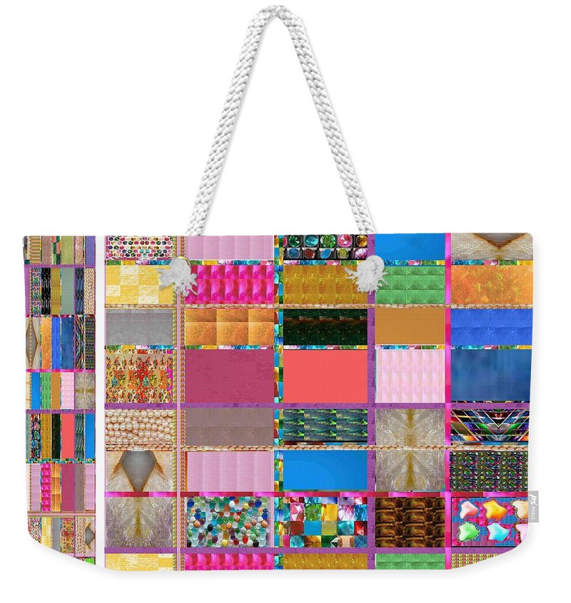 Heart Weekender Tote Bag featuring the painting Crystal Stone Collage Layered In Small And Medium Sizes Variety Of Shades And Tones From Reiki Heali by Navin Joshi