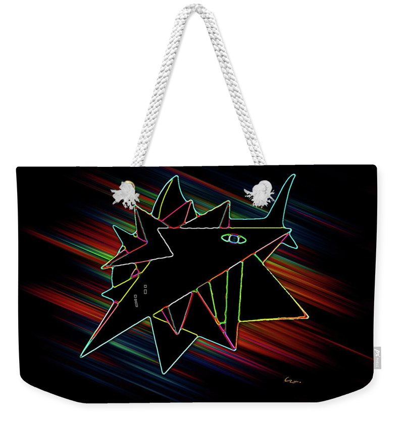 Crystal Weekender Tote Bag featuring the drawing Crystal White by Carl Hunter