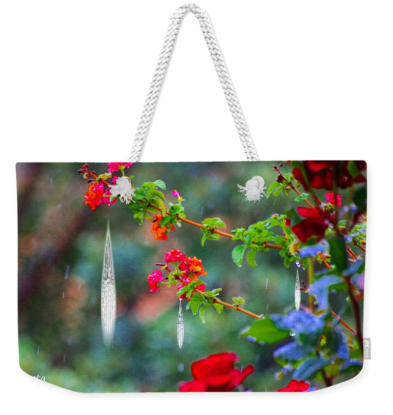 Augusta Stylianou Weekender Tote Bag featuring the photograph Crystals On Flowers by Augusta Stylianou