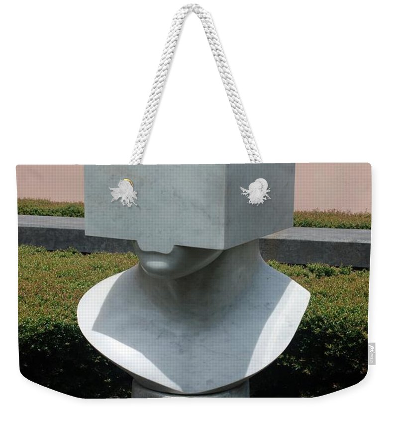 Sculptures Weekender Tote Bag featuring the photograph Cube Head by Rob Hans