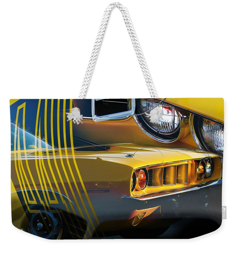 1970 Weekender Tote Bag featuring the photograph 'cuda Collage by Gordon Dean II