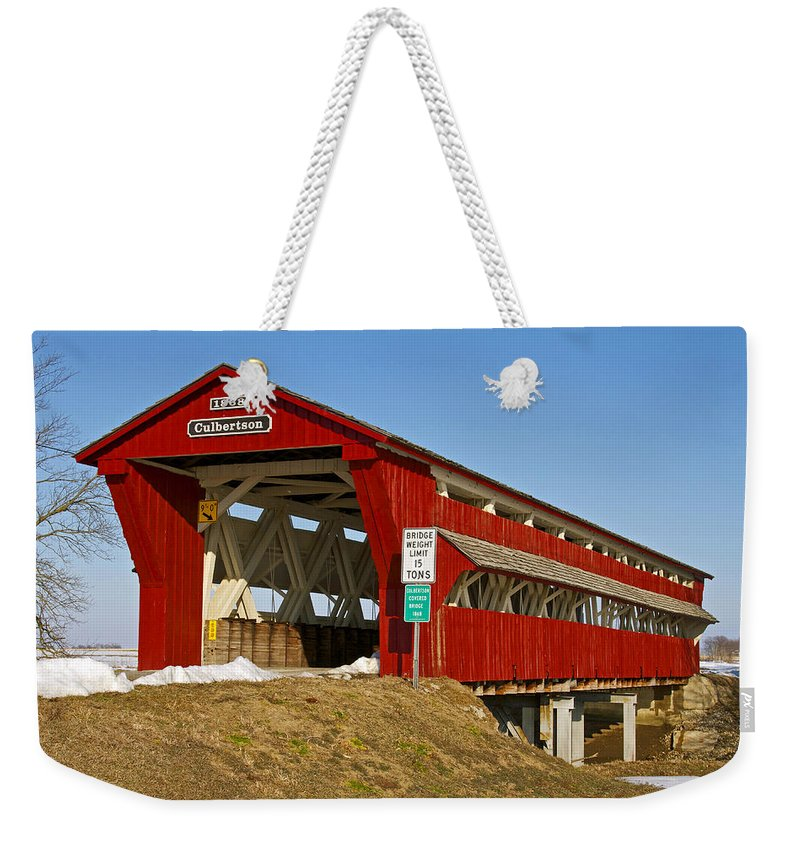 Ohio Weekender Tote Bag featuring the photograph Culbertson Or Treacle Creek Covered Bridge by Jack R Perry