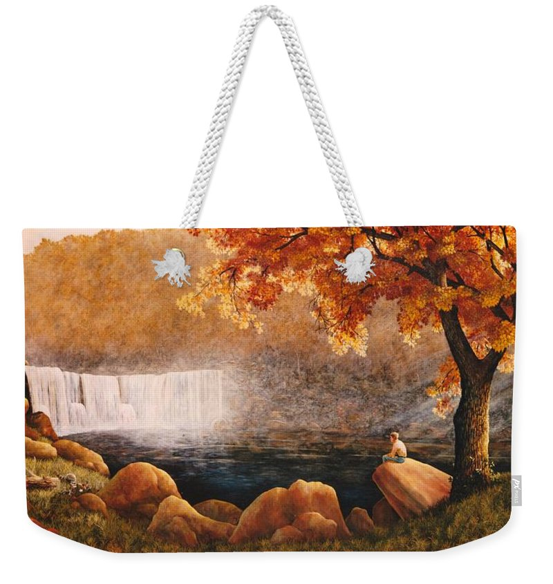 Waterfall Weekender Tote Bag featuring the painting Cumberland Falls by Duane R Probus