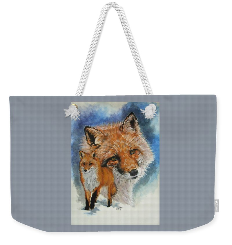 Fox Weekender Tote Bag featuring the mixed media Cunning by Barbara Keith