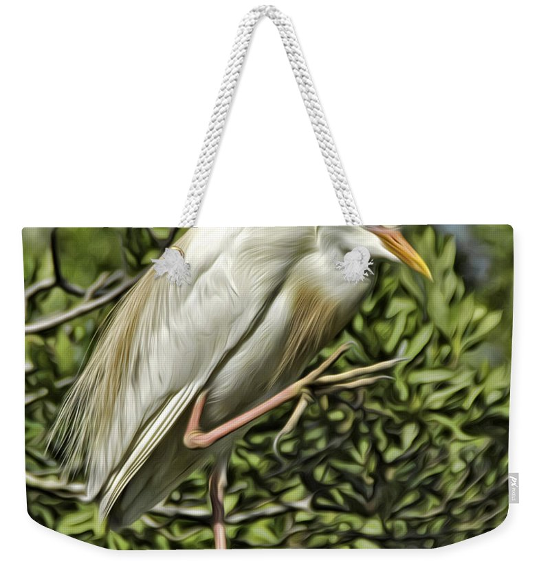 Cattle Egret Weekender Tote Bag featuring the photograph Cunning by James Ekstrom