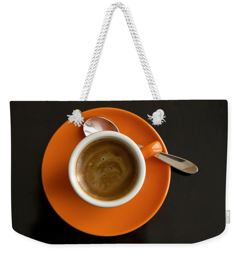 Coffee Weekender Tote Bag featuring the photograph Cup Of Coffee by Chevy Fleet