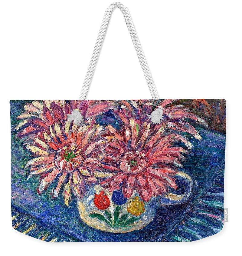 Kendall Kessler Weekender Tote Bag featuring the painting Cup of Flowers by Kendall Kessler