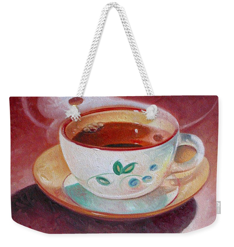 Cup Of Tea Weekender Tote Bag featuring the painting Cup Of Tea by T S Carson