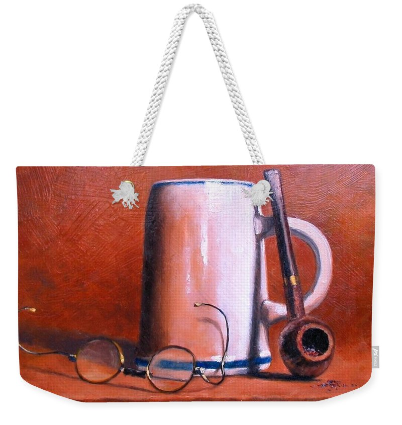 Cups Weekender Tote Bag featuring the painting Cup Pipe and Glasses by Jim Gola