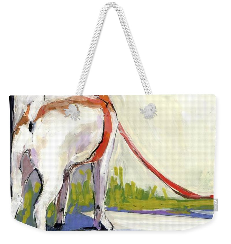 Dog Weekender Tote Bag featuring the painting Curbside by Molly Poole