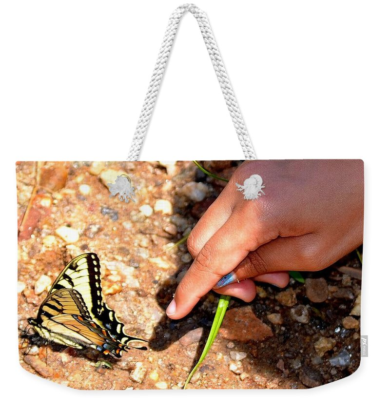 Tiger Weekender Tote Bag featuring the photograph Curiosity Of A Child by Tara Potts
