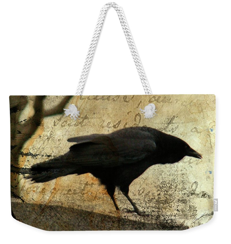 Blackbird Weekender Tote Bag featuring the digital art Curious Crow by Gothicrow Images