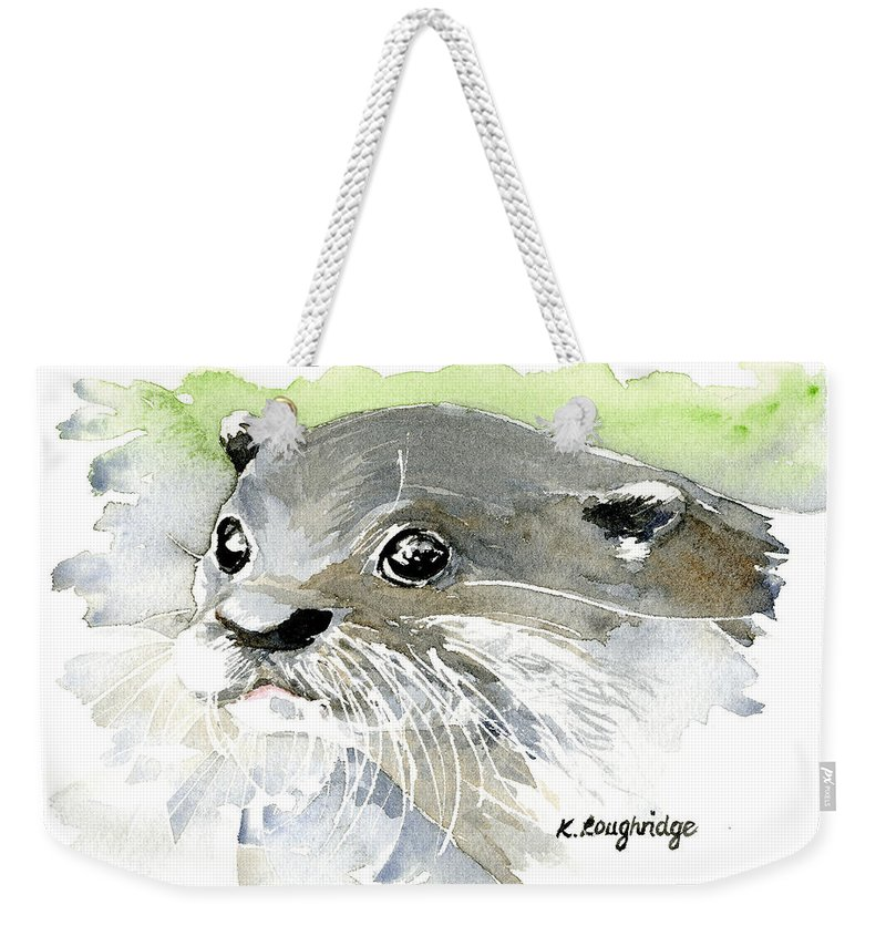 Otter Weekender Tote Bag featuring the painting Curious Otter by Karen Loughridge KLArt
