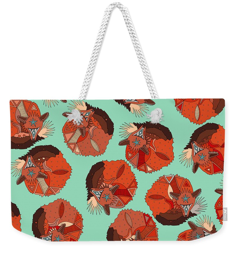 Fox Weekender Tote Bag featuring the drawing Curled Fox Polka Mint by MGL Meiklejohn Graphics Licensing