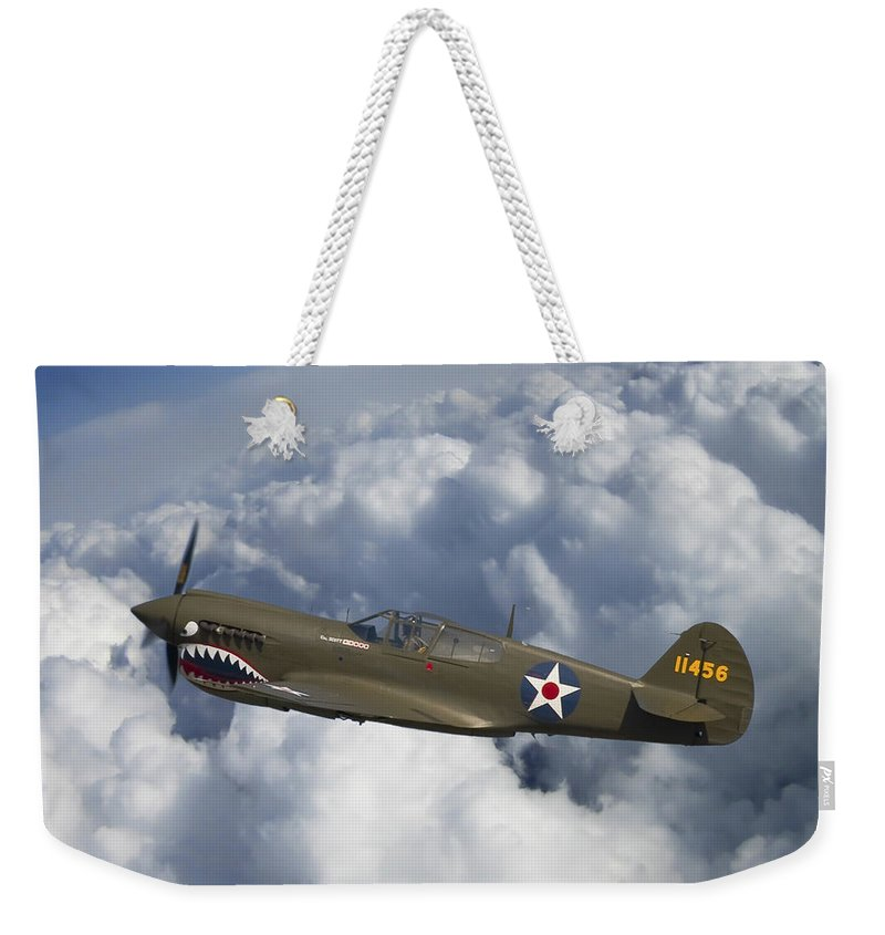 3scape Photos Weekender Tote Bag featuring the photograph Curtiss P-40 Warhawk Flying Tigers by Adam Romanowicz