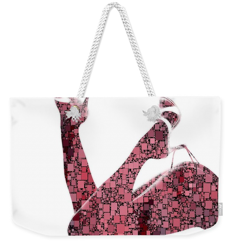 Curves Squares Square Curve Sexy Erotic Woman Female Girl Shoes Butt Naked Beauty Expressionism Pop Art Legs Shape Body Weekender Tote Bag featuring the painting Curves And Squares by Steve K