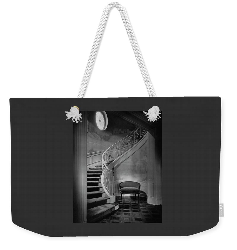 Interior Weekender Tote Bag featuring the photograph Curving Staircase In The Home Of W. E. Sheppard by Maynard Parker