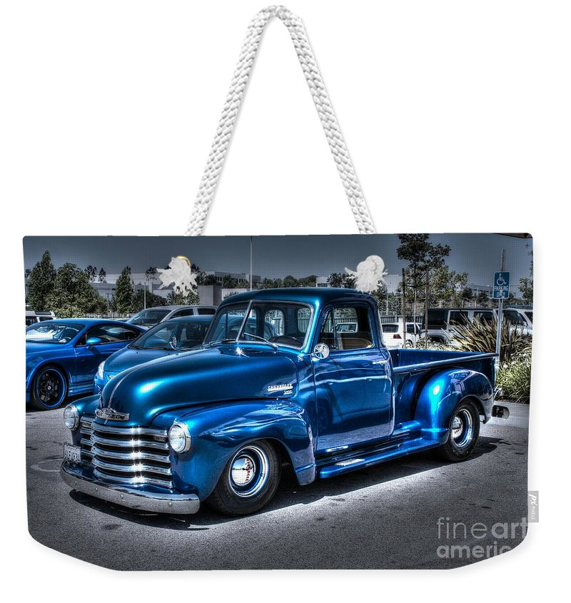 1953 Chevy Pickup Weekender Tote Bag featuring the photograph Custom Chevy Pickup by Tommy Anderson