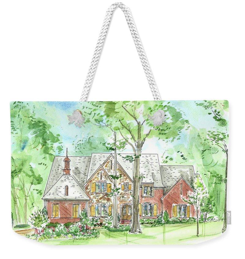 Custom Water Color Weekender Tote Bag featuring the painting House Portrait Or Rendering Sample by Lizi Beard-Ward