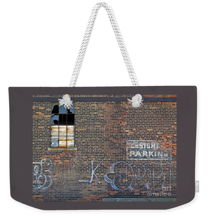 Wall Weekender Tote Bag featuring the photograph Customer Parking by Ann Horn