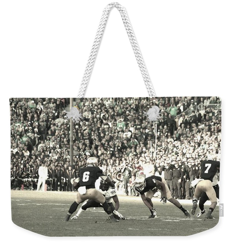 Notre Dame Vs Wake Forest College Football Weekender Tote Bag featuring the photograph Cutback by Michael Cressy