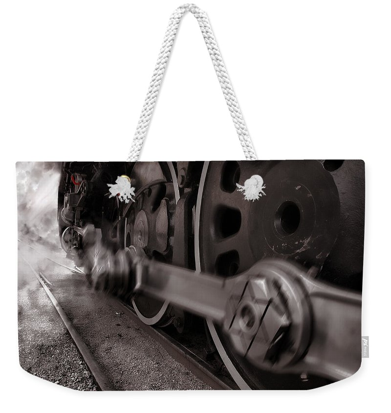 Union Pacific Weekender Tote Bag featuring the photograph Cutting Through The Steam by Ken Smith