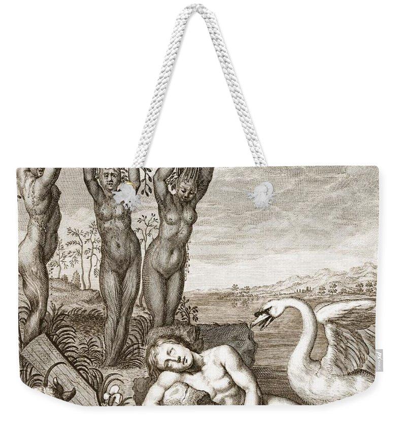 Metamorphosis Weekender Tote Bag featuring the drawing Cygnus Transformed Into A Swan by Bernard Picart