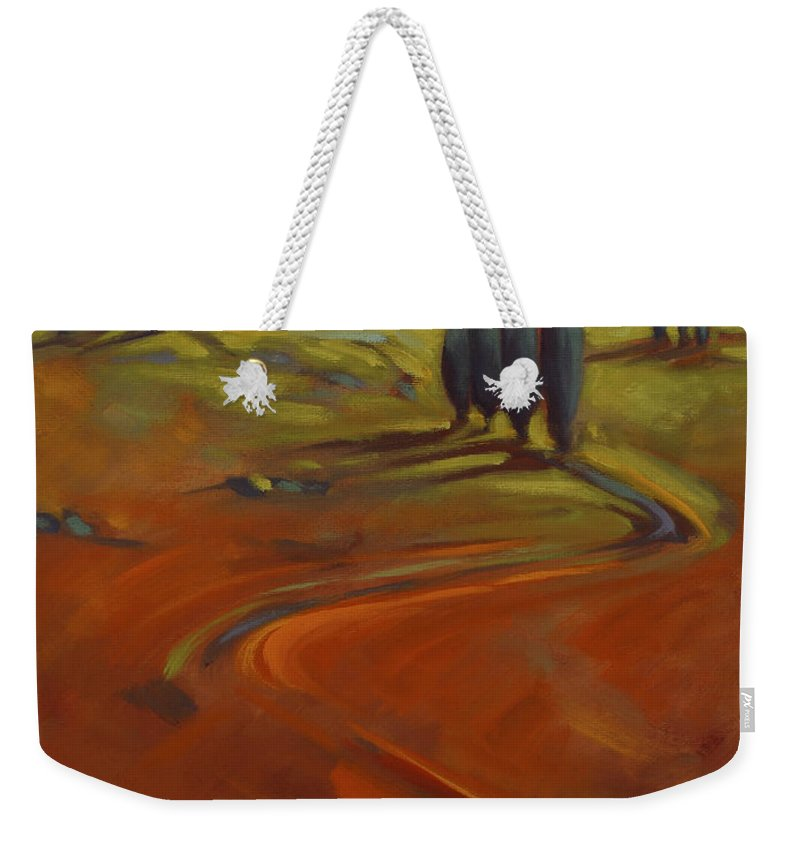 Cypress Weekender Tote Bag featuring the painting Cypress Hills 3 by Konnie Kim