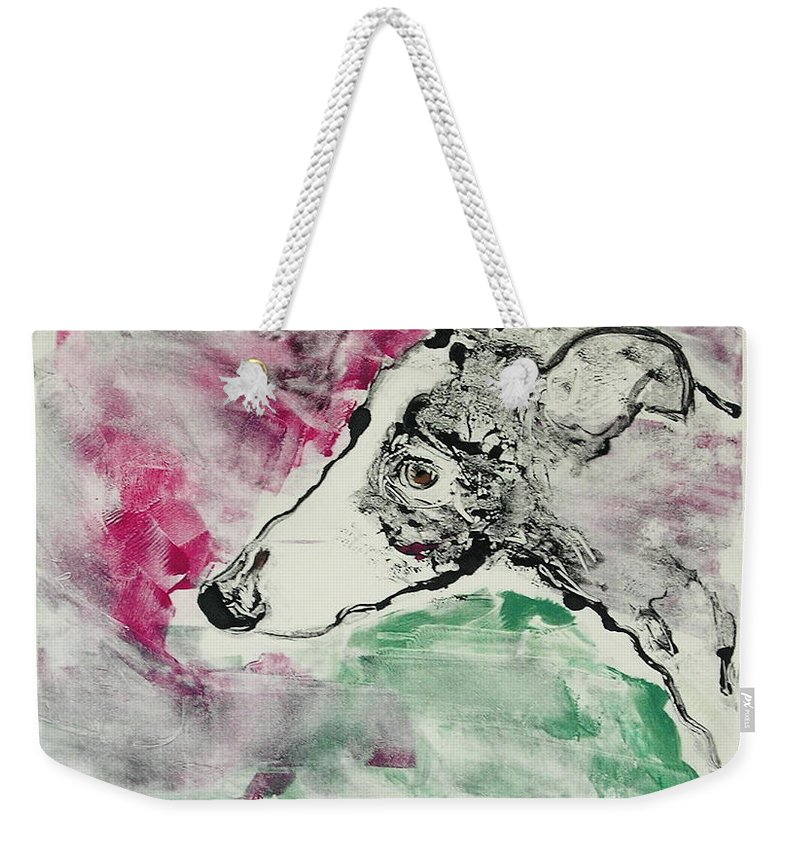 Greyhound Weekender Tote Bag featuring the painting Cyrus by Cori Solomon
