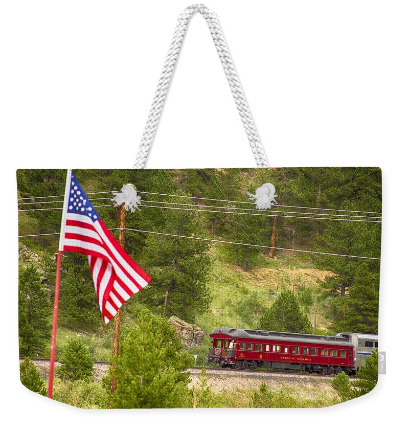 Cyrus K. Holliday Private Rail Car Weekender Tote Bag featuring the photograph Cyrus K. Holliday Rail Car And Usa Flag by James BO Insogna